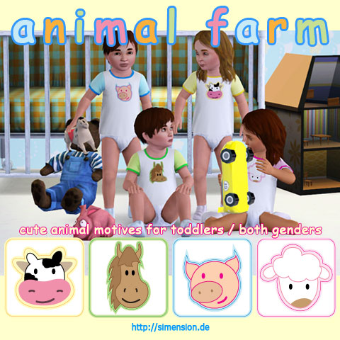 animal farm - cute motives for toddlers of both genders