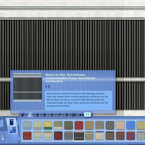 [Tutorial] CaS-Tool: Wand mit Nut, Stuhlschiene, verschnörkelter Krone, Sockelleiste und Bordüre