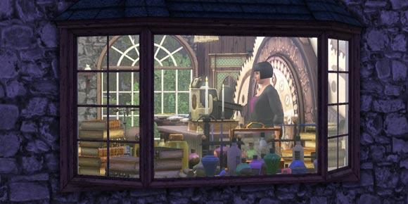 Schaufenster mit Elixieren und Zauberzubehör