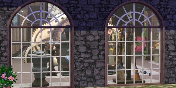 Schaufenster mit Besen und Zauberstöcken