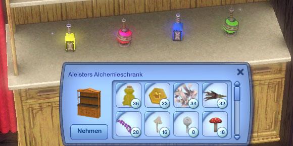 Alchemieschrank mit offenen Inventar