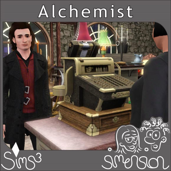 Alchemist an der Kasse des Elixier-Geschäfts