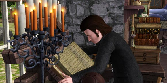 beim Recherchieren der Alchmie über das Zauberbuch gebeugter Sim
