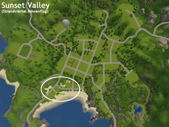 Landkarte von Sunset Valley mit markiertem Strandviertel