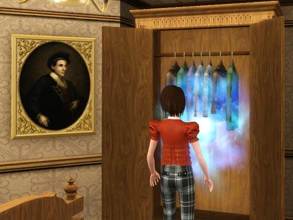 Sim betritt das Magische Portal im Kleiderschrank