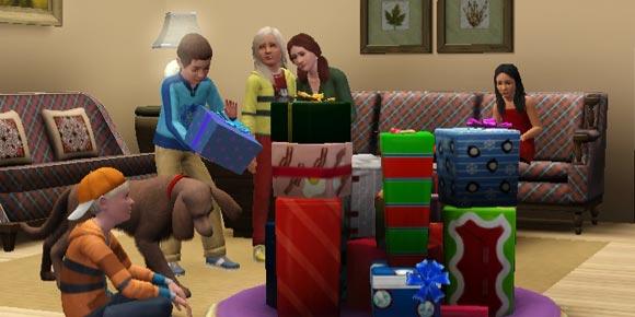 Sims packen die Geschenke auf dem Geschenketeppich aus