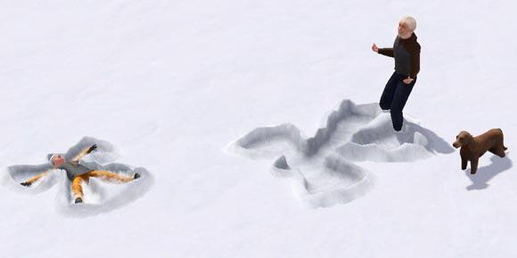 Sims machen Schneeengel