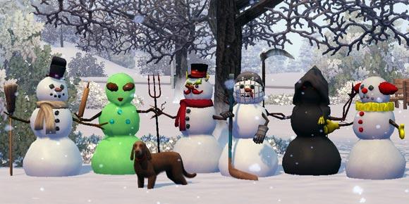 6 Formen der Schneemänner: Klassisch, Außerirdisch, Böse, Hockey, Sensenmann, Tragischer Clown