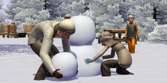 zwei Sims bauen zusammen einen Schneemann