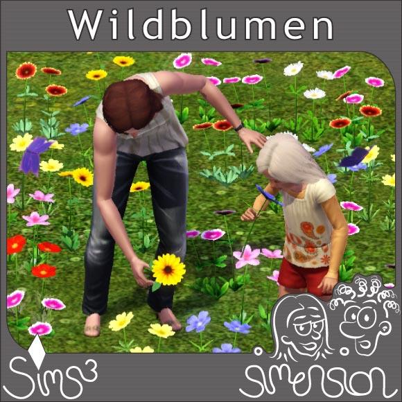Sims beim Pflücken von Wildblumen