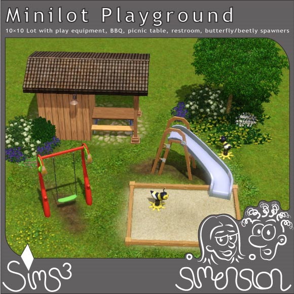 Playground with play equipment and picnic table