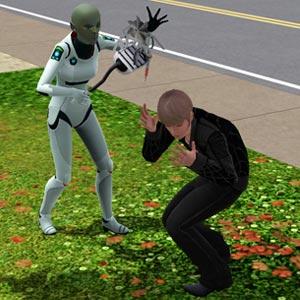 Alien erforscht einen Sim