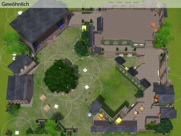 Festgelände im Gewöhnlich-Modus mit der Festlegung von Gebäuderesten, Bepflanzung und Zuchtstationen