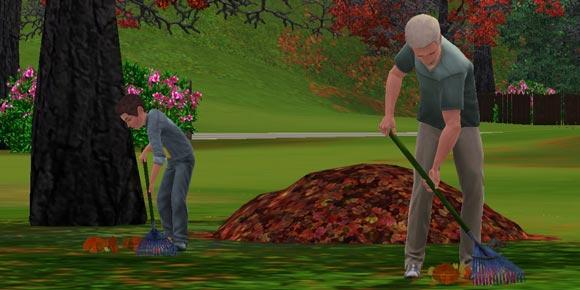 Sims-Kind und Erwachsener harken Laub im Herbst