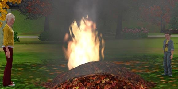 Sims mit brennendem Laubhaufen