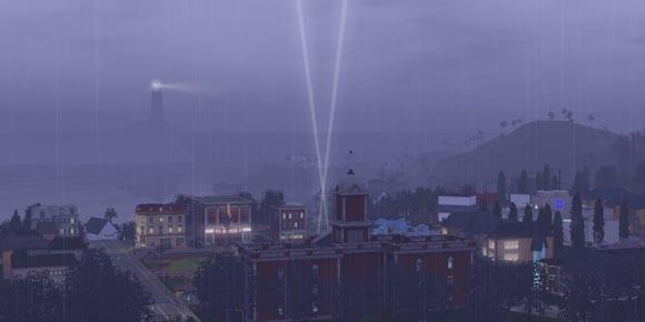 Regenschauer über Sunset Valley
