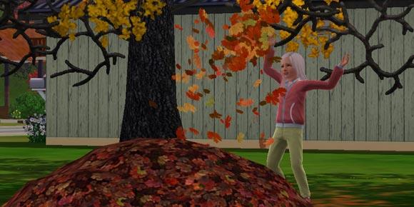 Sim spielt im Laubhaufen