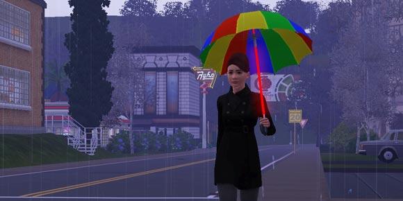 Sim mit leuchtendem Regenschirm