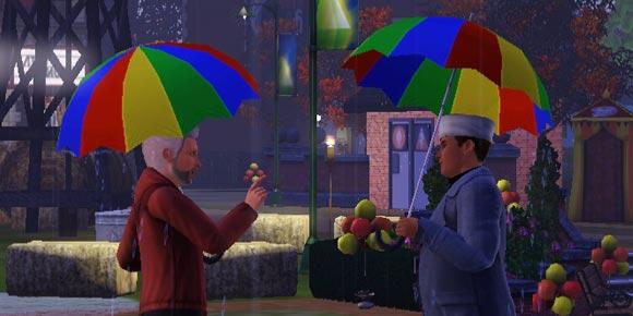 zwei Sims im herbst mit Regenschirm