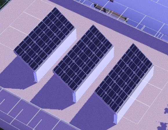ein Feld brete Solarpaneele auf einem Flachdach
