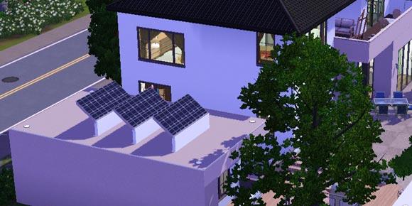 Flachdach mit Solaranlage