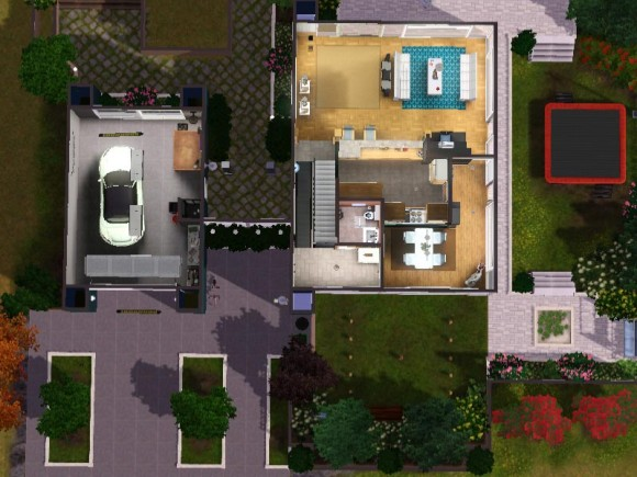 Sims 3 download arjan floor plan downstairs grundriss for Modernes haus sims 4
