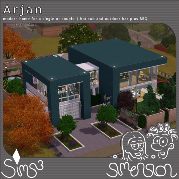 Front view of Arjan - a modern Sims 3 home