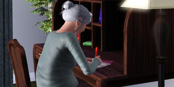 Sim schreibt einen Liebesbrief
