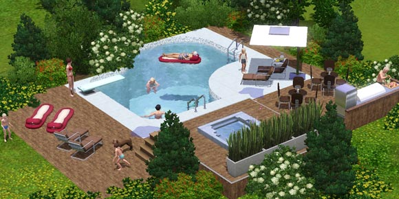 Sims bei einer Poolparty