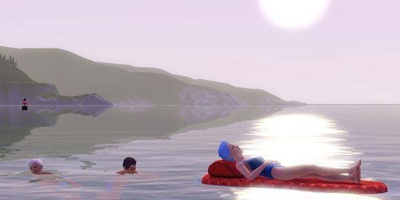 Sims schwimmen im Meer und liegen auf einer Luftmatraze