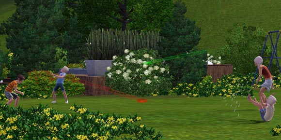 vier Sims-Kinder bei der Wasserbombenschlacht