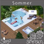 Sims am Pool