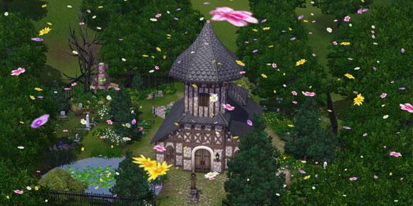 Alte Dorfkirche in Sunset Valley im Belebenden Tröpfeln