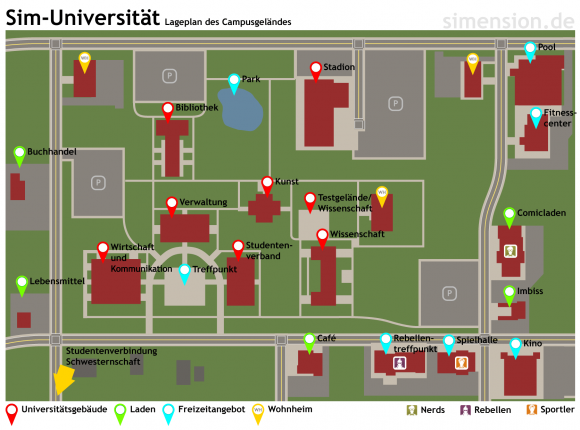Sims-Universität - Lageplan vom Campus