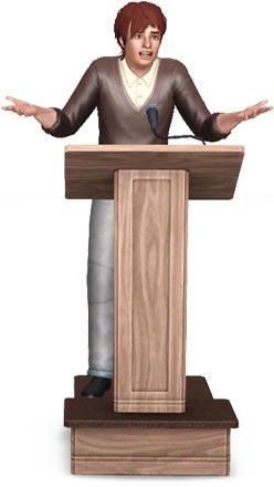 Podium für belehrende Redner