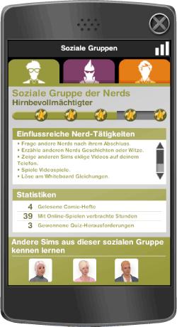 Sims 3 Smart Phone - Anzeige Soziale Gruppe der Nerds