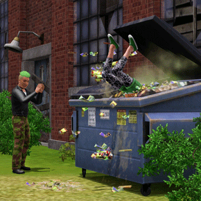 Rebell bei einem Mülltonnen-Tauchgang