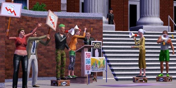 Reellen bestreiten einen Protest vor dem Rathaus