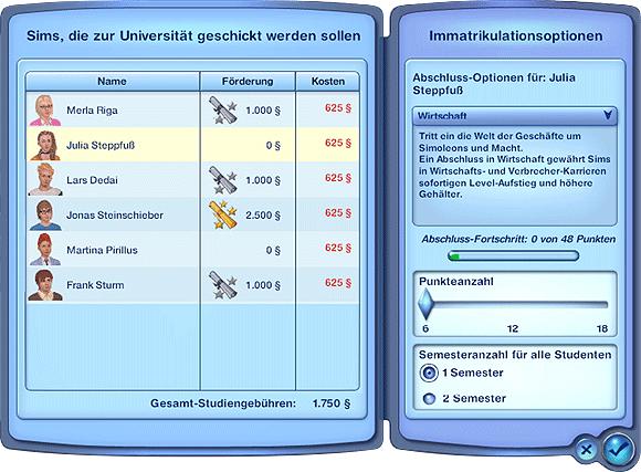 Sims 3 Studium - Einschreibung