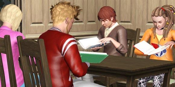 Lerngruppe beim Lernen aus Textbüchern
