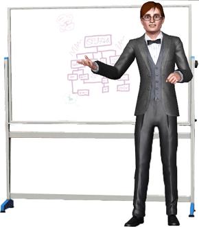 Professor hält Vorlesung mit Whiteboard