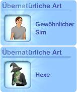 Erstelle-einen-Sim: Hexe als Übernatürliche Art festlegen