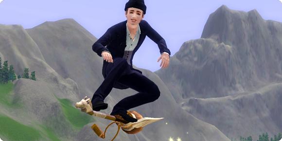 Die Sims 3 Hexer beim Besenreiten