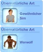 Erstelle-einen-Sim: Werwolf als Übernatürliche Art festlegen