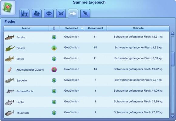 Die Sims 3 Sammeltagebuch – Fische