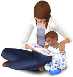 Kleinkinder lernen das Schreiben durch Vorlesen