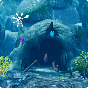 Unterwasserhöhle mit herausragenden Tentakeln