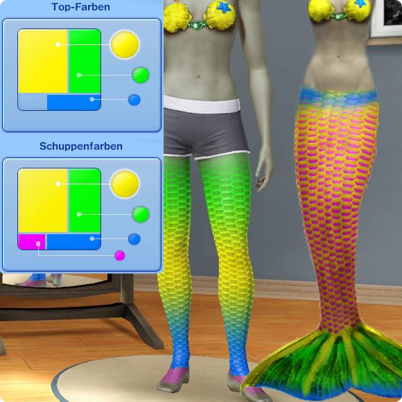 Meerjungfrau – Flossenfarbe an Bein und Flosse
