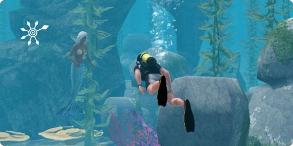 Meerjungfrau in einem Tauchbezirk entdecken