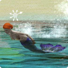 Meerjungfrau Teen mit Flosse
